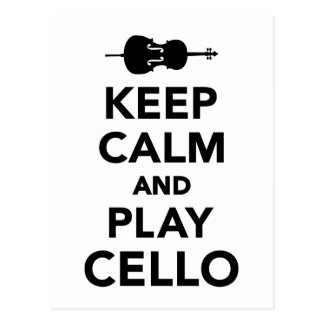 Keep calm and Play Cello Postcard