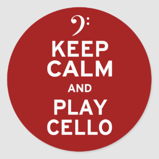 Keep Calm and Play Cello Round Sticker
