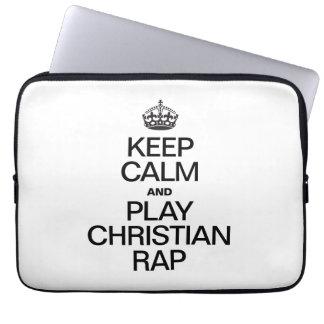KEEP CALM AND PLAY CHRISTIAN RAP LAPTOP COMPUTER SLEEVE