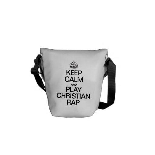 KEEP CALM AND PLAY CHRISTIAN RAP MESSENGER BAGS