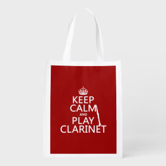 Keep Calm and Play Clarinet (any background color) Reusable Grocery Bag
