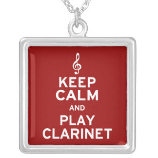 Keep Calm and Play Clarinet Square Pendant Necklace
