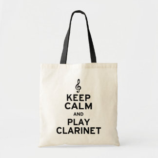 Keep Calm and Play Clarinet Tote Bags