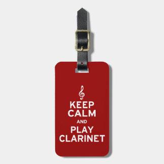 Keep Calm and Play Clarinet Travel Bag Tag
