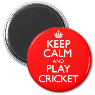 Keep Calm and Play Cricket (Carry On) 6 Cm Round Magnet