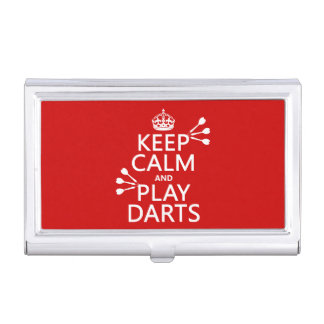 Keep Calm and Play Darts (customisable color) Business Card Holder