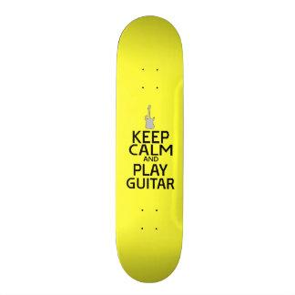 Keep Calm and Play Electric Guitar - on Yellow Custom Skateboard