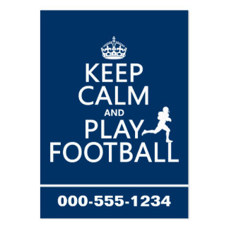 Keep Calm and Play Football (customizable color) Pack Of Chubby Business Cards