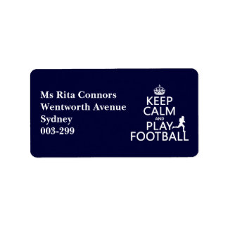 Keep Calm and Play Football (customizable color) Address Label