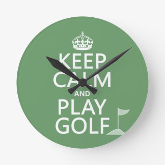 Keep Calm and Play Golf - all colors Round Wall Clock