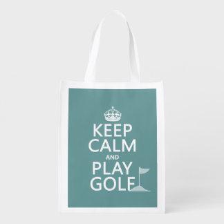 Keep Calm and Play Golf - all colors Reusable Grocery Bag