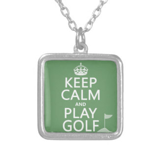 Keep Calm and Play Golf - all colors Silver Plated Necklace