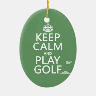 Keep Calm and Play Golf - all colours Christmas Ornament