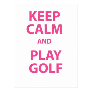 Keep Calm and Play Golf Postcard