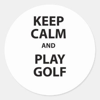 Keep Calm and Play Golf Round Sticker