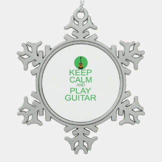 Keep Calm and Play Guitar (Acoustic) Snowflake Pewter Christmas Ornament