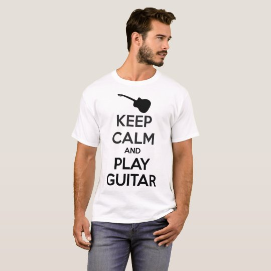 Keep Calm and Play Guitar Men White T-Shirt