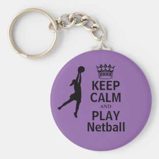Keep Calm and Play Netball Design Key Ring