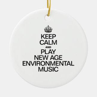 KEEP CALM AND PLAY NEW AGE ENVIRONMENTAL MUSIC CHRISTMAS ORNAMENT