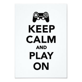 Keep calm and play on 3.5x5 paper invitation card