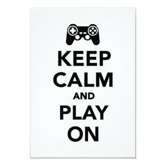 Keep calm and play on 9 cm x 13 cm invitation card