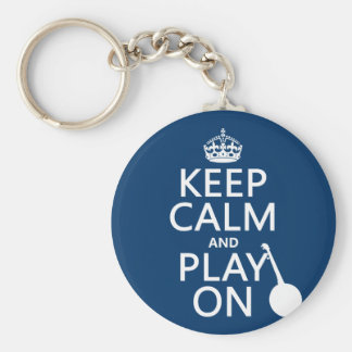 Keep Calm and Play On (Banjo)(any bckgrd color) Key Ring