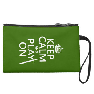 Keep Calm and Play On (Bassoon)(any color) Suede Wristlet