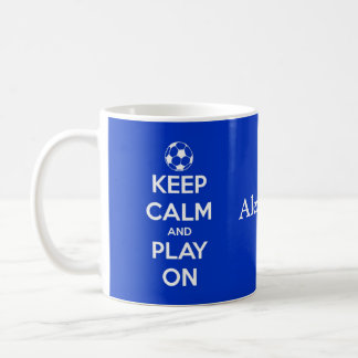Keep Calm and Play On Blue and White Personalized Basic White Mug