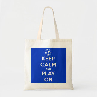 Keep Calm and Play On Blue Budget Tote Bag