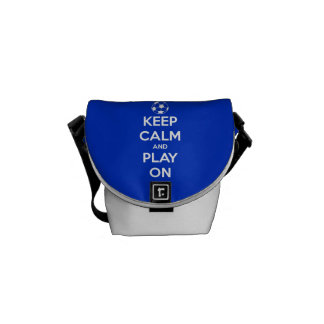 Keep Calm and Play On Blue Messenger Bags