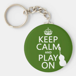 Keep Calm and Play On (cello) (any color) Basic Round Button Key Ring