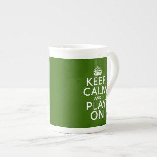 Keep Calm and Play On (cello) (any color) Bone China Mug
