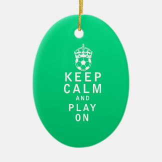 Keep Calm and Play On Ceramic Oval Decoration