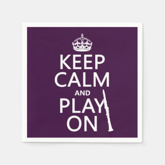 Keep Calm and Play On (clarinet) (any color) Paper Napkin