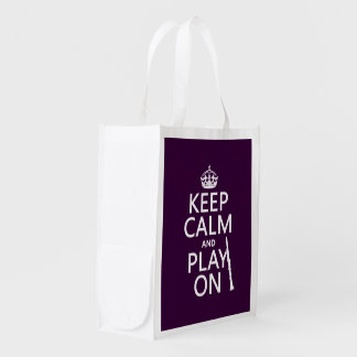 Keep Calm and Play On (clarinet) (any color) Reusable Grocery Bag