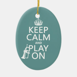 Keep Calm and Play On (cornet)(any color) Ceramic Oval Decoration
