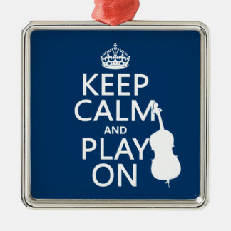Keep Calm and Play On (double bass) Silver-Colored Square Decoration