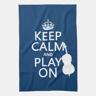 Keep Calm and Play On (double bass) Tea Towels