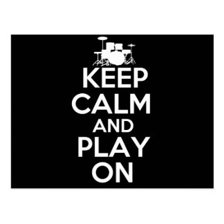 Keep Calm and Play On (Drums) Postcard