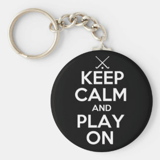 Keep Calm and Play On - Field Hockey Basic Round Button Key Ring