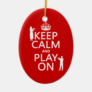 Keep Calm and Play On (flute)(any backgroundcolor) Ceramic Oval Decoration