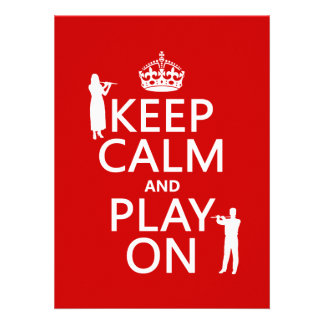 Keep Calm and Play On flute any backgroundcolor Custom Invitations