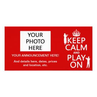 Keep Calm and Play On flute any backgroundcolor Custom Photo Card