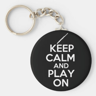 Keep Calm and Play On! (Flute) Key Ring