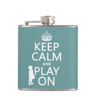 Keep Calm and Play On Hip Flask
