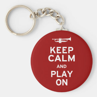 Keep Calm and Play On Basic Round Button Key Ring