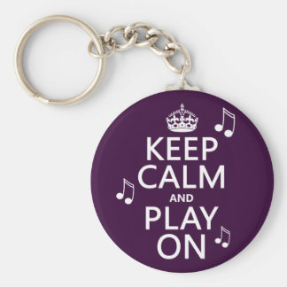Keep Calm and Play on - music notes - all colours Basic Round Button Key Ring