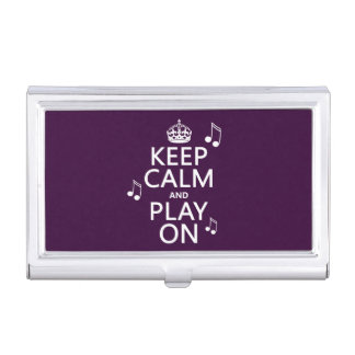 Keep Calm and Play on - music notes - all colours Business Card Holder