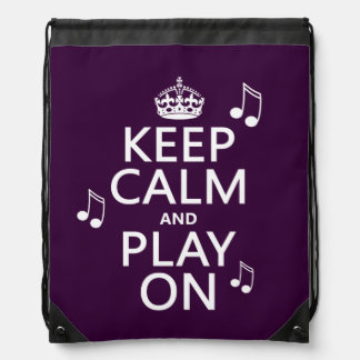 Keep Calm and Play on - music notes - all colours Drawstring Bag