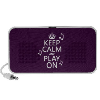 Keep Calm and Play on - music notes - all colours iPod Speakers